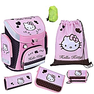 Школьный рюкзак Scooli Hello Kitty с наполнением (5 предметов) + дождевик